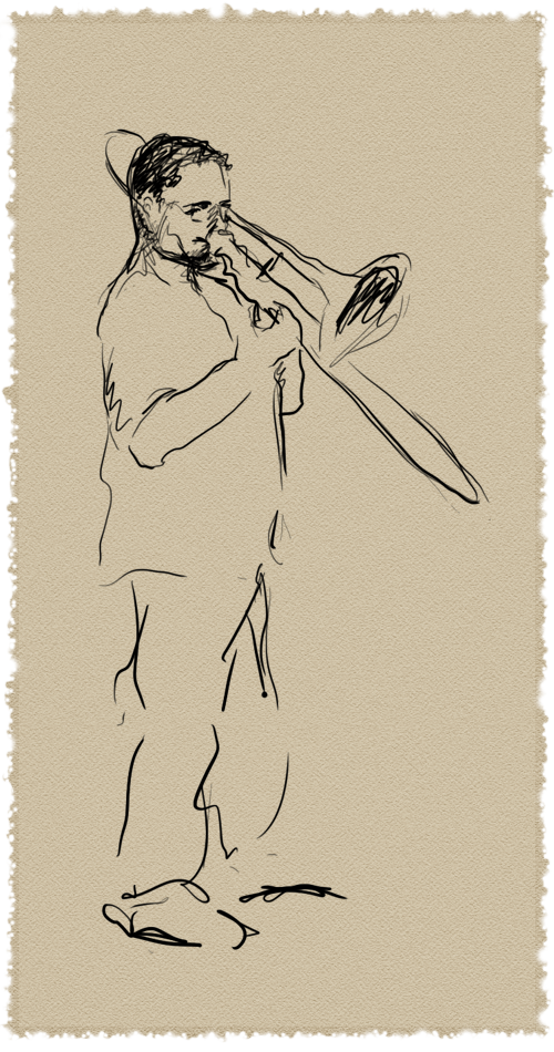 Digital line drawing of Jon Stubbs playing the trombone, on digital watercolor paper, by Salomé Starbuck